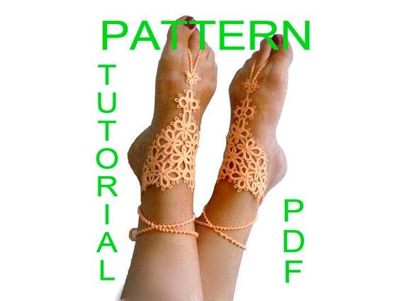 Tatting pattern barefoot sandals pdf instant download malvernweather Choice Image