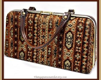 Vintage Tapestry Handbag,Vintage Handbag,Vintage Tapestry Purse,Vintage Tapestry Pocketbook,Vintage Pocketbook,Vintage Box Purse,Box Purse