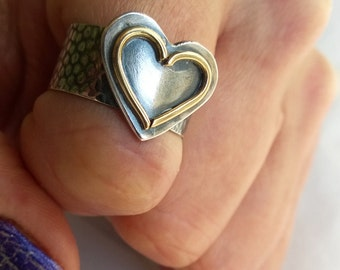 Heart Ring Wide Band/ Rustic Silver Heart Ring/ Silver Heart Ring/ Statement Heart Ring/ Big Heart Ring/ OOAK Heart Ring/ Mixed Metals Heart