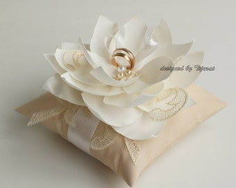 Ring bearer pillow,beige Wedding ring bearer pillow with  Lily flower-ring holder, ring pillow-ready to ship