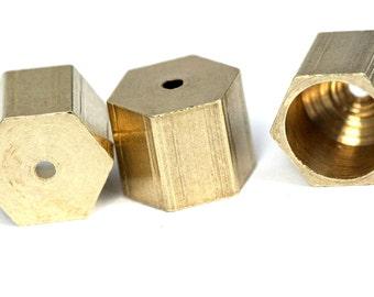 raw brass hexagonal end caps 8X7 mm 7 mm inner ENC7 1659