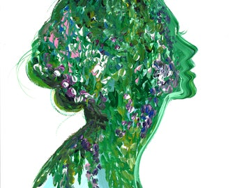 Deep in Green, print from original gouache fashion illustration by Jessica Durrant