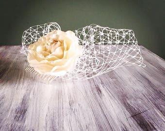 Birdcage veil, floral birdcage veil, flower birdcage veil, wedding veil, veil, wedding hair accessories, hair accessories, wedding hair