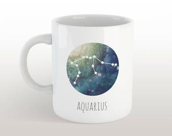 aquarius mug - zodiac sign coffee mug with constellation & characteristics with galaxy background