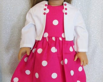 """Pink & White Polka Dot Dress  w/Jacket  and  Shoes for the American Girl Doll or any other 18"""" Doll"""