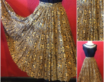 1950s Novelty Print Cotton Circle Skirt 3 Tier Extra Full