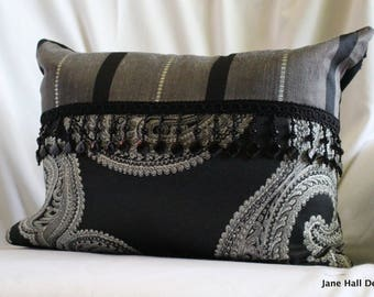 12x16 ,Bohemian Style, Quilted Decorative Pillow Cover, Black and White, Designers Guild Woven Fabric, Black Beaded Trim