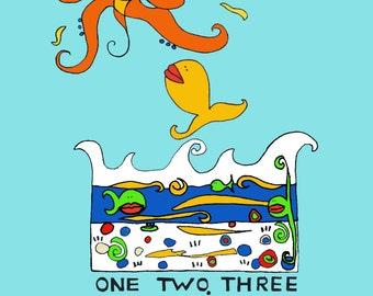 Fish One Two Three, Children's Print