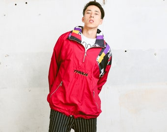 Bold 90s Shell Jacket . 80s Vintage Windbreaker Men's Sports Jacket Zip Up Athletic Jacket Outerwear 1980s Activewear . size Large L