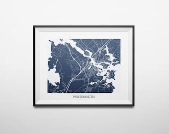 Portsmouth, New Hampshire Abstract Street Map Print