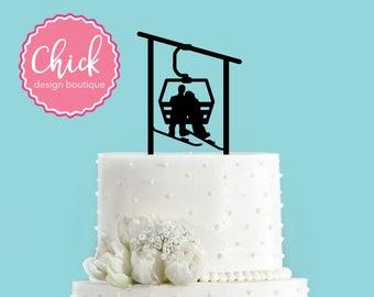 Winter Snowboarding Ski Lift Gondola Couple Bride and Groom Winter Wedding Acrylic Wedding Cake Topper