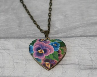 Pink Flower Locket Necklace, Floral Necklace, Heart Locket Necklace