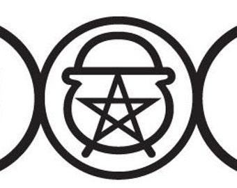 Cauldron Vinyl WALL ART Triple Goddess Moon Pagan Wiccan Decal