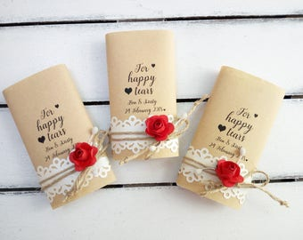 Rustic style happy tears tissue pack, Custom tears of joy packs, Wedding favor for your happy tears handkerchief, Happy tears hankerchief