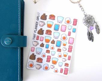 Breakfast Kawaii breakfast stickers! super cute yummy treats!! perfect for the Erin Condren, Happy Planner, kikki k etc - mark break
