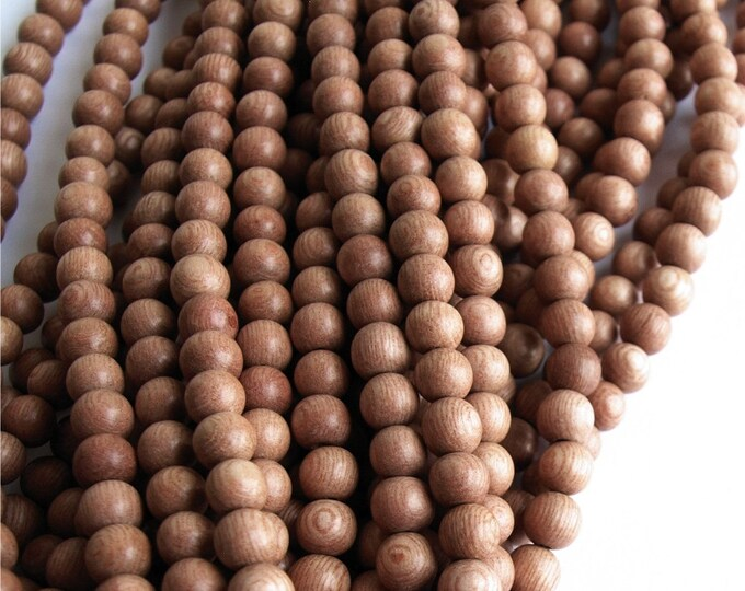 Wood Bead, Round 5mm, Rosewood - Ten 16 Inch Strands (WDRD-05RS)