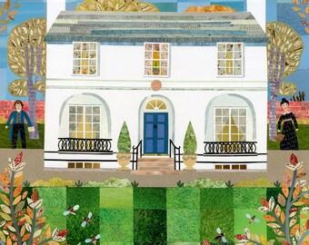 John Keats, Greeting Card, Keats House, Autumn, Birds, Garden, Collage, Writer's House, Garden, London, Keats, Amanda White Design, Poet,