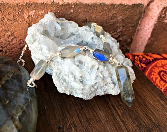 Delicate Natural Labradorite and 925 Sterling Silver Crystal Necklace Healing Crystals Boho Chic Cute Dainty