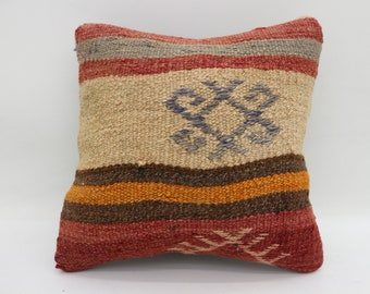 Kelim Kissen, 12x12 Turkish Kilim Pillow, Woven Pillow, Striped, Multicolor, Throw Pillow, Cushion Cover, Handmade Kilim Pillow SP3030-578