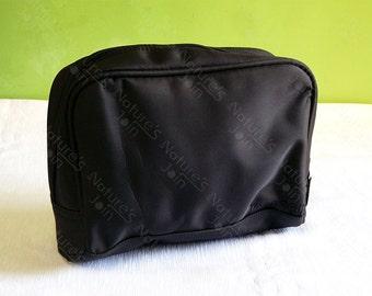 Black Small Hand Bag for cosmetics, toiletry or small items. Travel Pouch. Good Quality & Durable.