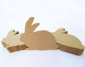 Kraft Tag, Rabbit Gift Tag, Kraft Favor Tag Set of 100