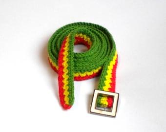 Thin rasta belt, crochet cotton hippie belt, reggae accessories