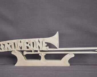 Trombone  Band  Instrument Puzzle Wooden Toy Hand Cut with Scroll Saw