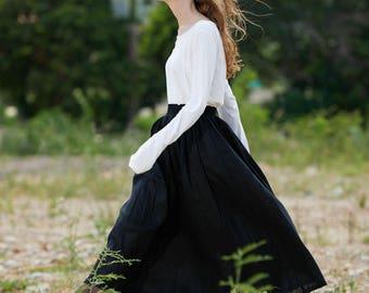 black skirt, long linen skirt, maxi skirt in black and red, ruffle skirt, linen skirt, two pockets skirt, long skirt, black skirt