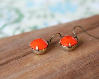 vintage glass earrings - tangerine