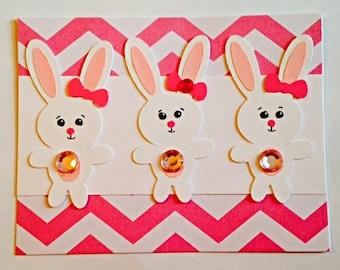 Beautiful Pink Bunny Trio Handmade Card!