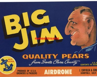1960s Big Jim Airdrome Caviglia Sunnyvale CA Original Crate Label