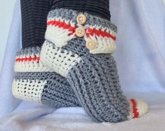 Womens Slipper Boots, Slipper Boots, Womens Slippers, Slippers, Sock Monkey Slippers, Slippers For Women, Slippers Boot, Gift For Her