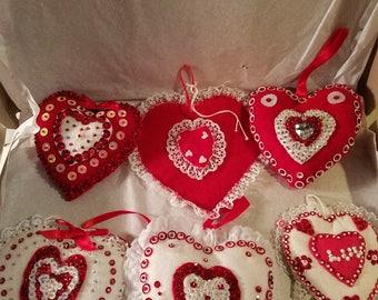 Vintage handmade  Valentine ornaments 3