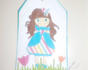 Little Girl Scrapbooking Tag