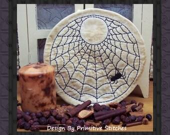 Spider Web Candle Mat by Primitive Stitches--Primitive Stitchery E-Pattern--Instant Download