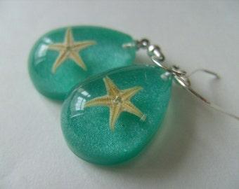 Teal blue, drop, starfish, real starfish, sea life, ocean, earrings, by NewellsJewels on etsy