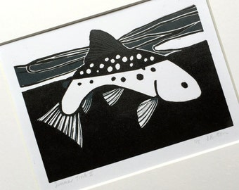 Summer Trout (II) :  Two colour linocut, trout & fly fishing, small edition print