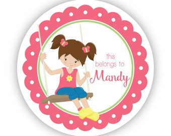 Personalized Name Stickers - Pink Lime Recess Girl, Swing Swingset, Recess Name Label Stickers - Back to School - This Belongs To Labels