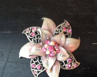 Vintage Brooch / Pink Floral Brooch / Rhinestone Floral Brooch