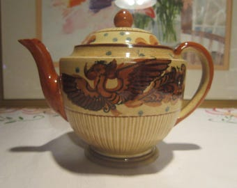 Winged Dragon Teapot Vintage 1950's Mid Century Japan Brown Rust Teal Crazying Home Kitchen Decor Collectible Serving