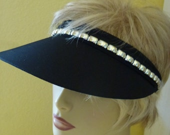 Glitzy Black Sun Visor with Silver Tone Studs, Black and Silver Ladies hand Decorated Sun Visor