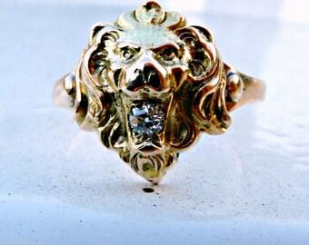 Antique Victorian 10ct 10k Gold Diamond Stickpin Conversion Roaring Lion Ring, Antique Figural Statement Gold Ring, Old Cut Diamond Ring