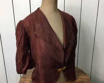 Original 1930's Equisite Jacket - Deco orange buttons and Stunning Ruched pleated sleeves
