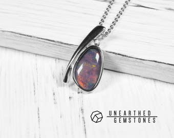 October Birthstone Necklace - Triplet Opal Necklace, Opal Crystal, Rainbow Opal Pendant, Womens Jewelry Necklace 17sep12