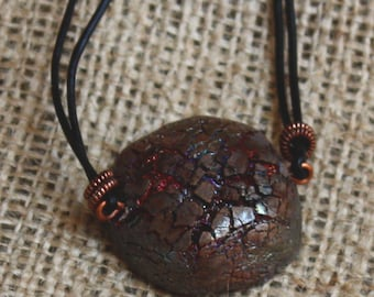 Raku Ceramic Necklace. Wearable Art. THIRSTY SOIL. Leather Necklace. Nature Inspired Necklace.  Copper Raku Pendant.