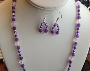 Bright Purple Necklace and Earring Set