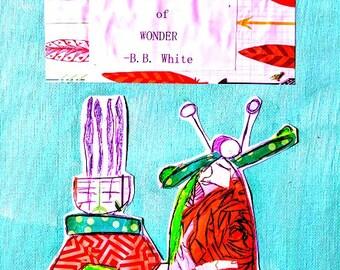 """Professeur cadeau Scooter Vespa 8.5 """"x 11"""" Wonder toile plat présent à l'origine de la merveille d'Inspiration peinture technique mixte turquoise Orange navire gratuit"""