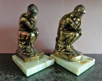 The Thinker Onyx pair of Bookends 1928 Vintage Rodin Metal Book Ends