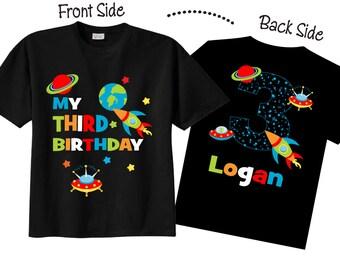 3rd Birthday Shirts with Space Space Birthday Shirts on BLACK Shirts