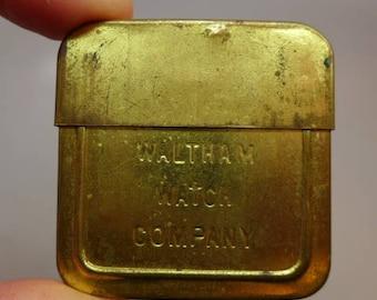Antique Brass Waltham Pocket Watch Container - Watch Holder - Watch Container